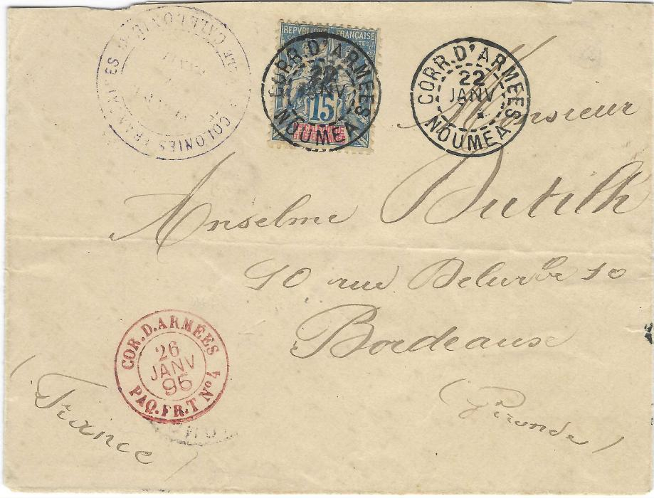 New Caledonia 1895 (22 Janv) Military Concession rate cover to Bordeaux franked 15c. tied Corr. D'Armees Noumea cds with another fine strike alongside, front and back with violet Colonies Francais Nlle Caledonie/ SERVICE DE SANTE, the one on reverse with manuscript endorsement and signature above. Also showing the rare French Packet Line T transit in red Cor.D.Armees Paq.Fr.T No4; light horizontal filing crease and slight envelope faults not detracting.
