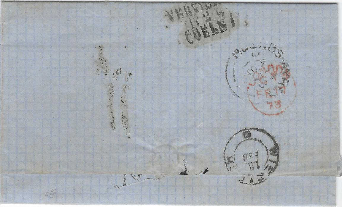 Argentina 1873 entire to Rauenberg, Germany, endorsed
