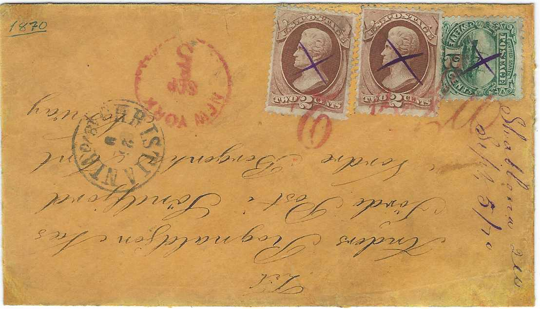"United States 1870 (Sept 5) orange-brown envelope to Norway franked 1870-71 two 2c. brown 'Jackson' and 1869 12c. 'S.S. Adriatic' with violet pen crosse and annotated in same ink at side ""Shabbona Ill/ Sept 5/ 70"", the stamps additionally tied by large red 'Wfro 2' accountancy handstamp, New York 5 transit and  Christiania  cds of 25/9, reverse with red Sandosund arrival."