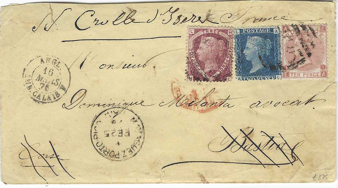 Great Britain (Puerto Rico) 1876 (FE 25) entire to Bastia, Corsica, redirected within France, franked Line Engraved 1½d. and 2d. together with 1867-80 10d., plate 1, EA,  the 1d. cancelled by 'C85' obliterators, Mayaguez Porto Rico Paid cds of British Post Office below, internal French cancels; slight faults to envelope.