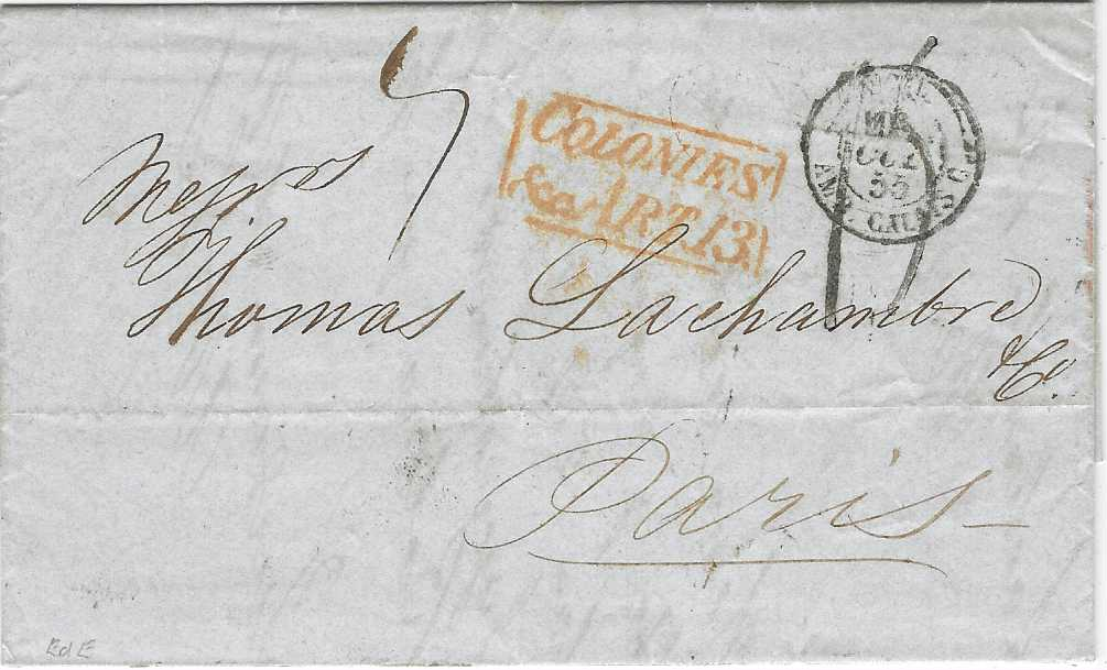 Great Britain (Panama) 1855 (SP 23) entire to Paris bearing on reverse fine red COLON broken double circle date stamp, London transit alongside, the front with red framed COLONIES/& ART 13 accountancy, Calais entry cds overstriking rate handstamp; fine and scarce.