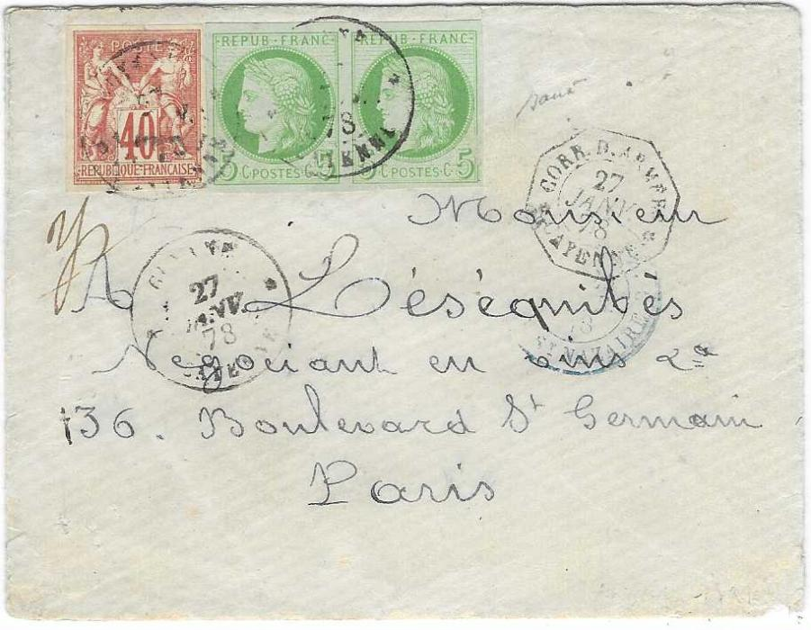 French Guyana 1878 (27 Janv) envelope to Paris bearing mixed issue General Colony 1871-76 5c. Ceres  and 1877-78 40c., all with mostly large margins, cancelled Guyane Cayenne, to right octagonal Corr D'Armees Cayenne date stamp of same dat, blue French entry cds. An extremely fine cover.
