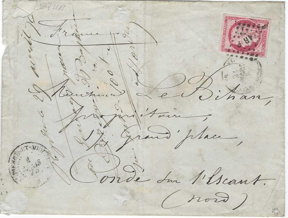 Saint Pierre et Miquelon 1876 envelope to France bearing single franking 1872-77 80c. Ceres, four good to large margins, lightly cancelled lozenge with SPM at centre, cds in association bottom left.  As the cancel was unclear the stamp was given a new lozenge with AR P at centre on arrival in France, French transit backstamps. The envelope with central vertical filing crease and front used to make a note.