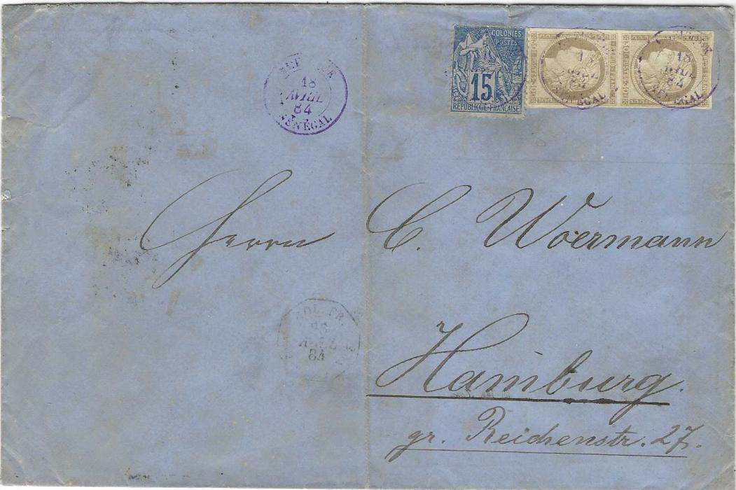 Senegal 1884 (18 Avril) cover to Hamburg franked mixed issue franking of General Colony issues with 1872-77 30c Ceres imperf vertical pair with good margins and Allegory 15c. tied Rufisque Senegal date stamps with another strike to left, unclear maritime date stamp on front, arrival backstamp; heavy central filing crease otherwise a fine mixed issue commercial cover.
