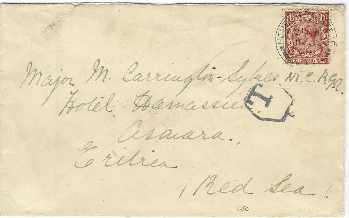 """Eritrea 1924 cover from Hemel Hempstead, England underfranked with 1½d. and bearing hexagonal framed 'T', annotated on reverse """"If left please forward to/ R. A. Mess/ Aden"""", initial arrival backstamp overlaid block of five 1903 20c Postage Dues tied by two unclear cancels."""