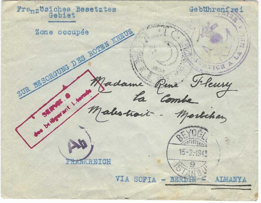 Turkey (Internee Mail) 1943 (15.2.)  stampless free envelope addressed to Occupied France via the Red Cross bearing red framed 'SERVICES/ des belligerant internes', Beyoglu Istanbul despatch, double-ring crescent moon and star circular handstamp, violet Marine Francaise/ Service A La Mer 'anchor' illustrated handstamp, German Ab civil censorship. Senders details on reverse as from French Sailor from Minesweeper. Fine condition.