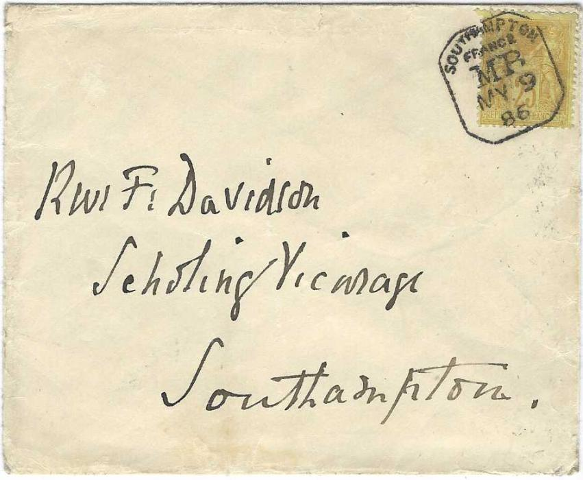 France (Maritime) 1886 (MY 9) cover to Southampton franked 'Sage' 25c. tied by octagonal framed SOUTHAMPTON/ FRANCE/ MB date stamp; a little roughly opened on reverse, a very fine strike of this cancel.