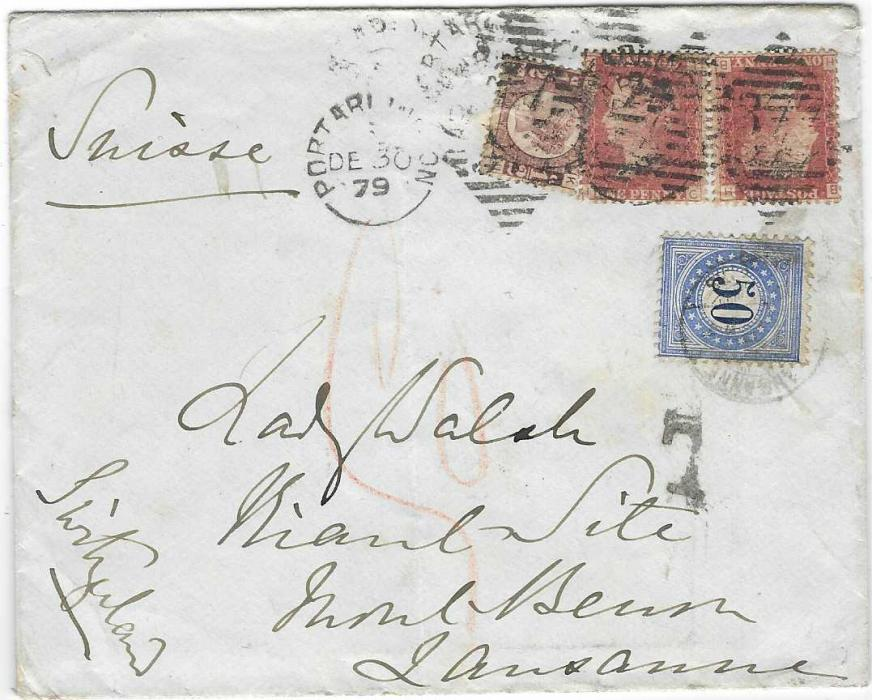 Switzerland (Postage Due) 1879 (DE 30) cover from Portarlington, Ireland to Lausanne insufficiently franked at 2½d. rate, probably should have been double rate, the double deficiency paid by 1878 Type I, 50c. Postage Due; light vertical crease clear of stamps.