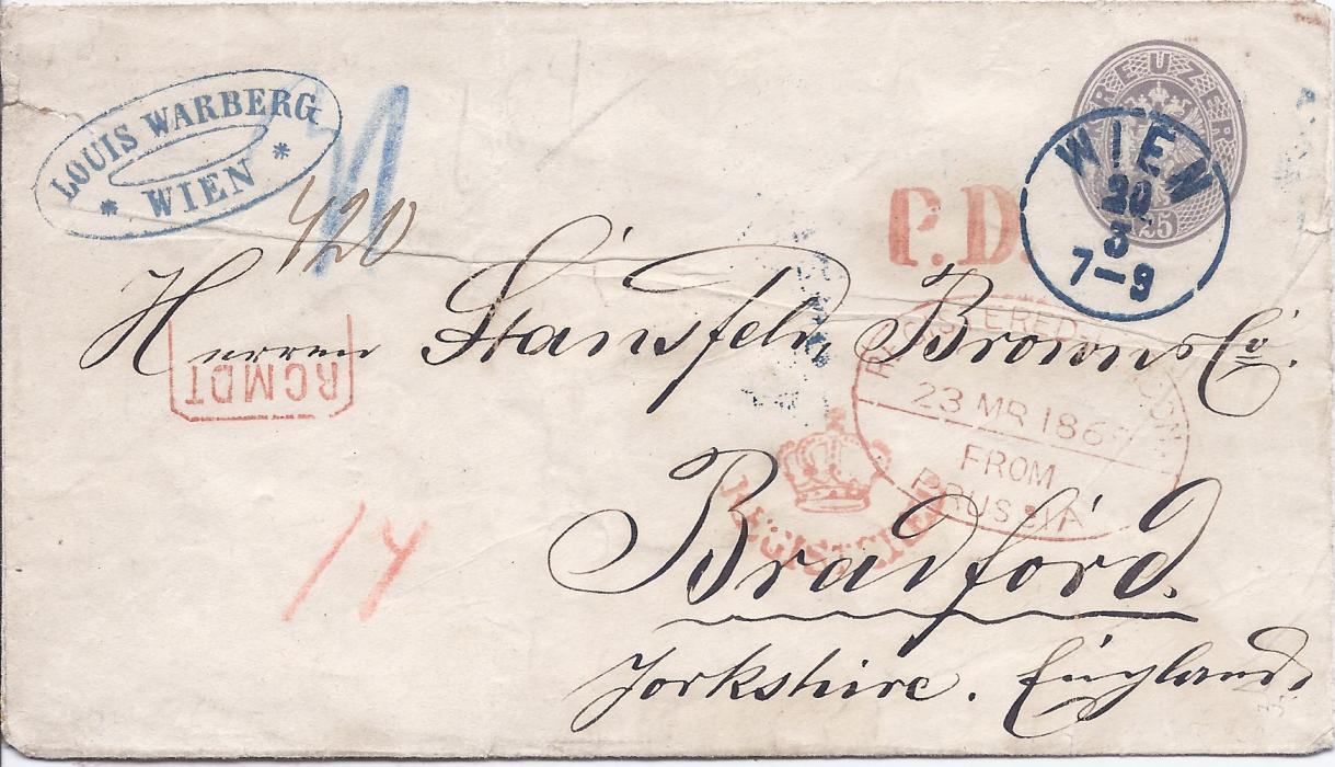 Austria  1869 25k. postal stationery envelope, uprated 10k. and registered to Bradford, England, stamp and printed image tied Wien despatch cds, red framed RCMDT handstamp and unframed P.D., in transit at London oval-framed Registered London/ From/ Prussia date stamp and cursice (crown)/ REGISTERED handstamp, arrival backstamp. Crease and other faults but still a good example of this highly catalogued stationery envelope used. Ferchenbauer Certificate.