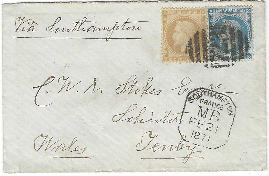 France (Maritime Mail) 1871 (Fe 21) cover to Tenby, Wales franked 'Laureated Napoleon' 10c. and 20c. tied  by'723' obliterator (of Southampton), framed Southampton/ france/ MB handstamp below, arrival backstamp; very fine condition.