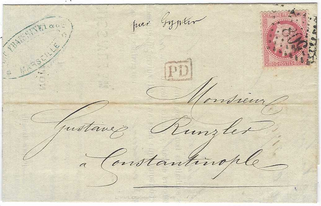 "France (Maritime Mail) 1872 'Frassinet Shipping Company' invoice to Constantinople from Marseille franked 'Laureated' Napoleon 40c. cancelled on arrival by '5083' gros chiffres, endorsed at top in manuscript ""par Gyptis"" as stated in body of invoice."