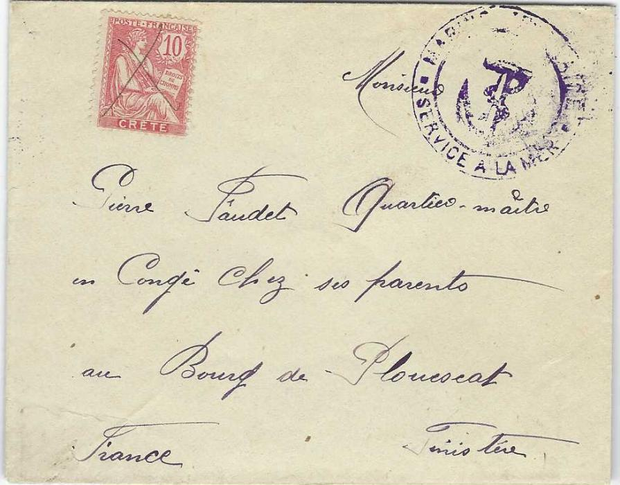France (Maritime Mail) 1904 cover to Finistere franked 1902-03 Crete 10c. Mouchon pen cancelled and bearing violet Marine Francaise * Service A La Mer cachet at right, arrival backstamp.