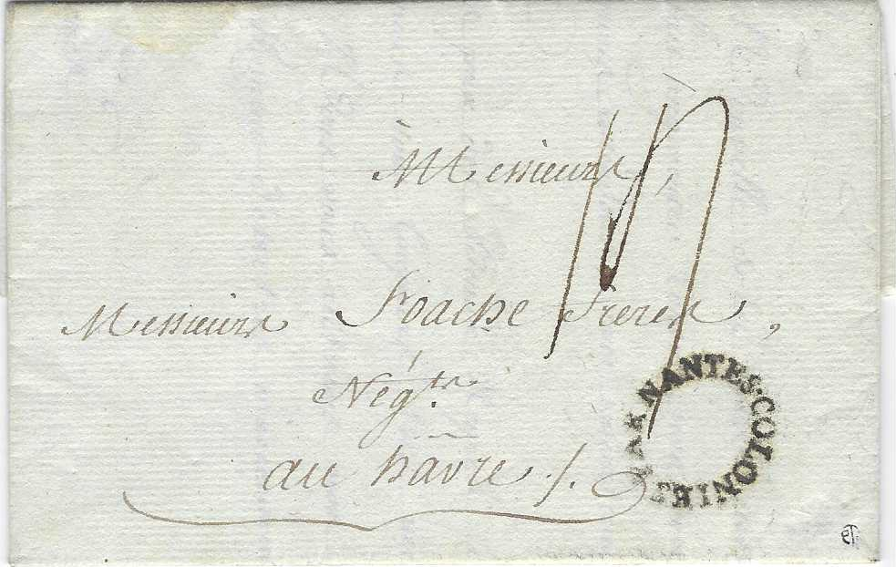"France (French Maritime Mail) 1785 entire from Leogane to Le Havre bearing fine unframed oval  Par Nantes Colonies hand stamp, rated ""14"" sol; fine and clean example."