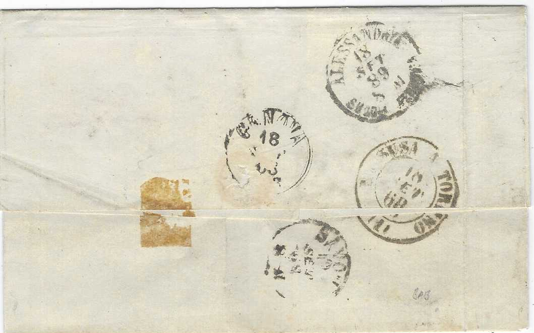 """France (Maritime Mail) 1868 outer letter sheet to Genova per Savona franked 'Laureated'Napo;eon 80c. pair and single tied by 'anchor' lozenge cancel with faint octagonal Buenos Ayres date stamp at centre, various Italian transit and arrival cds. Carried by the """"Carmel"""" to Montevideo and thence by """"Guienne"""" to Bordeaux."""
