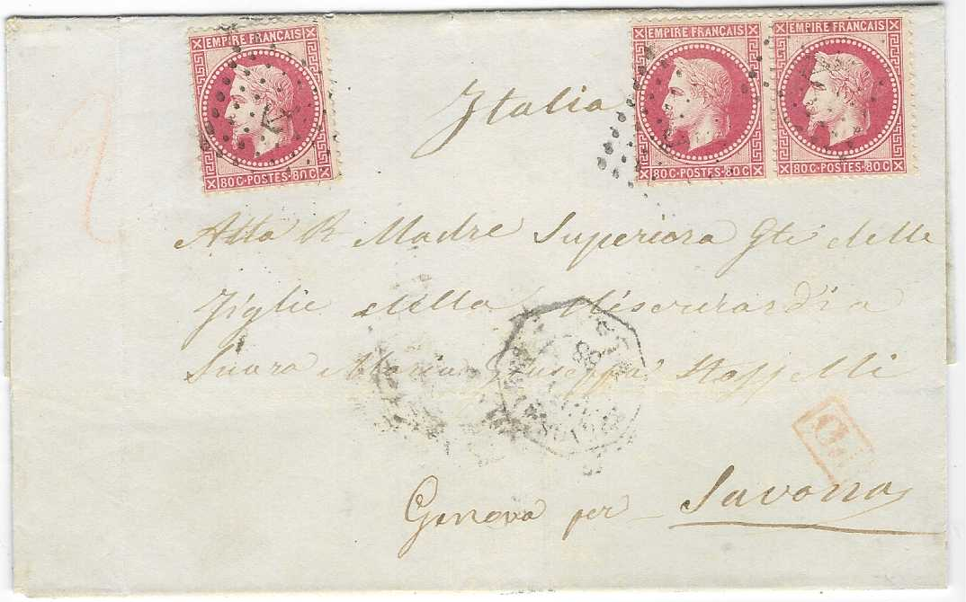 France (Maritime Mail) 1868 outer letter sheet to Genova per Savona franked 'Laureated'Napo;eon 80c. pair and single tied by 'anchor' lozenge cancel with faint octagonal Buenos Ayres date stamp at centre, various Italian transit and arrival cds.