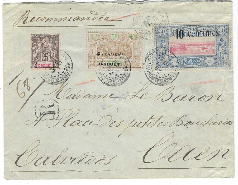 French Somali Coast (Djibouti) 1902 (15 Oct) registered cover to Caen franked Obock  25c. and Djibouti  1902 5 centimes on 30c and 10 centimes on 50c. each tied Cote Francais de Somalis Djibouti, arrival backstamps; fine and attractive obverse franking.
