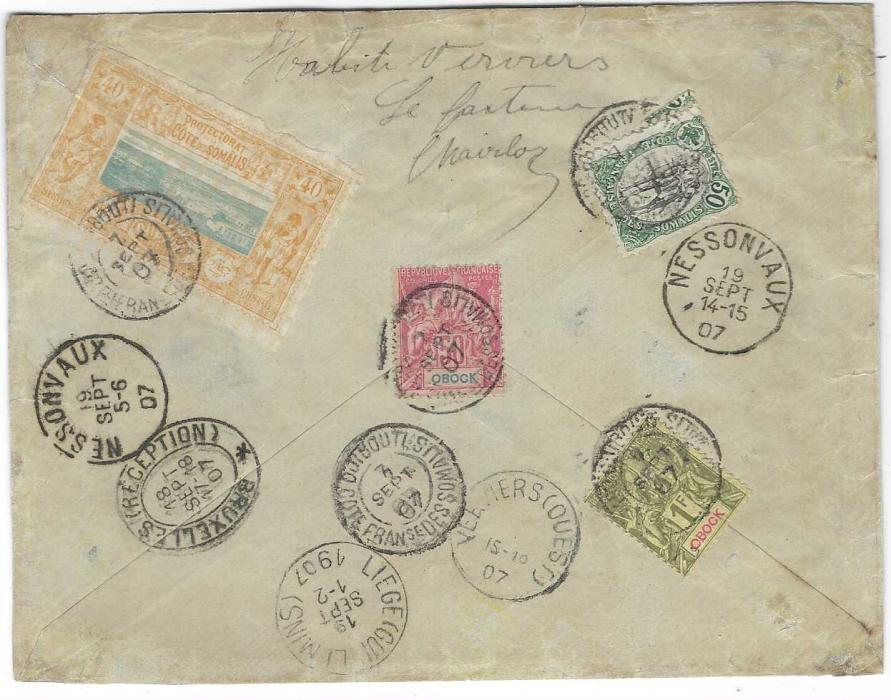 French Somali Coast 1907 (7 Sept) registered cover to Belgium franked on reverse Obock 50c. and 1f., Djibouti 40c. and Cote de Somalis 50c. tied Cote Francaise Des Somalis Djibouti, front with maritime Ligne N No.5 date stamp, redirected on arrival with five different Belgian cancels.