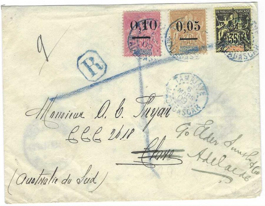 Madagascar 1909 (6 Mars) registered cover to South Australia redirected internally upon arrival franked 1906 Sage 35c. black on yellow together with 1902 0,05 on 30c. narrow surcharge and 0,10 on 50c. wide surcharge each tied Tamatave blue cds, reverse with Aden transit cds and Adelaide cds.