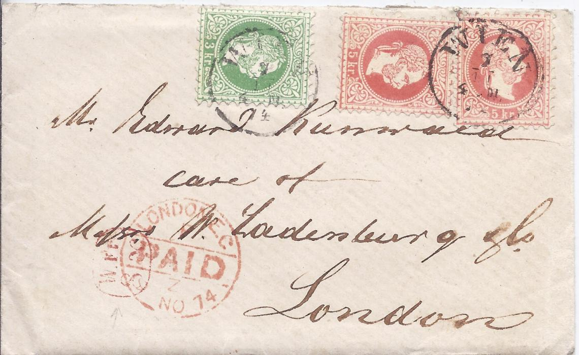 Austria 1874 cover to London franked 3Kr. and two 5Kr. tied Wien cds, small red framed W.Fr/ 8.x accountancy handstamp overstruck by arrival cds.