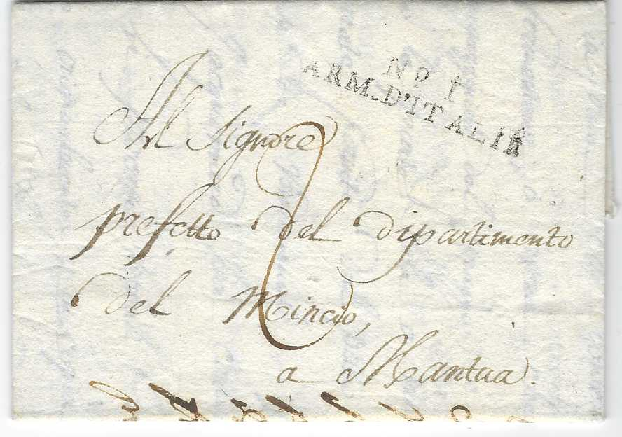 France (Napoleonic Mail) 1806 (10 April) entire from Milan to Mantua cancelled two-line 'No. I/ ARM. D'ITALIE'; fine clean condition.