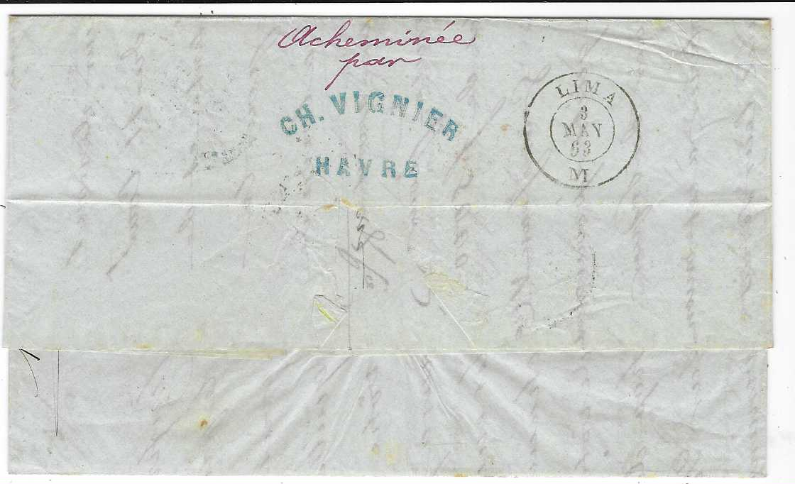 "France 1863 entire written from Switzerland  with forwarding agents cachet from Locle (Suisse) to Lima, Peru, endorsed ""Par Stmr La Plata""  franked with 1853 imperf  Napoleon 80c. (close to large margins) and 1862 perforated 40c.  tied gros chiffres '1769/ B' with Bureau Maritime cds in association, two red framed P.P., Panama double arc transit at centre, reverse with manuscript ""Acheminee/ par"" CH. VIGNIER/ HAVRE, Lima arrival cds alongside."