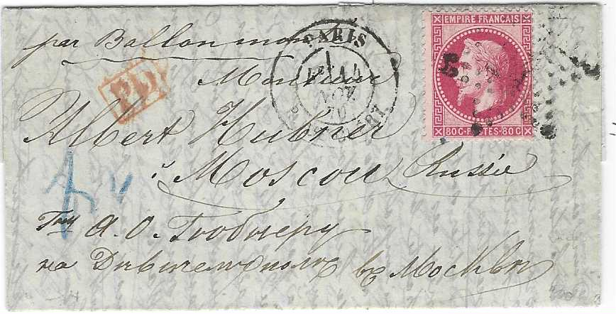France (Ballon Monte) 1870 (14 Nov) entire to Moscow, Russia franked 1863-71 Laureated Napoleon 80c. tied '24' Paris Star with cds in association, red framed PD and blue manuscript ratings applied in transit; without backstamps, fine and fresh. Brun Certificate.