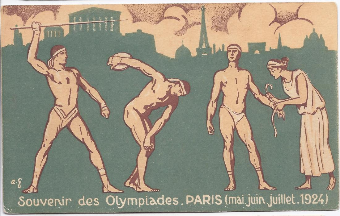 France Paris 1924 Olympics souvenir picture postcard fine unused.