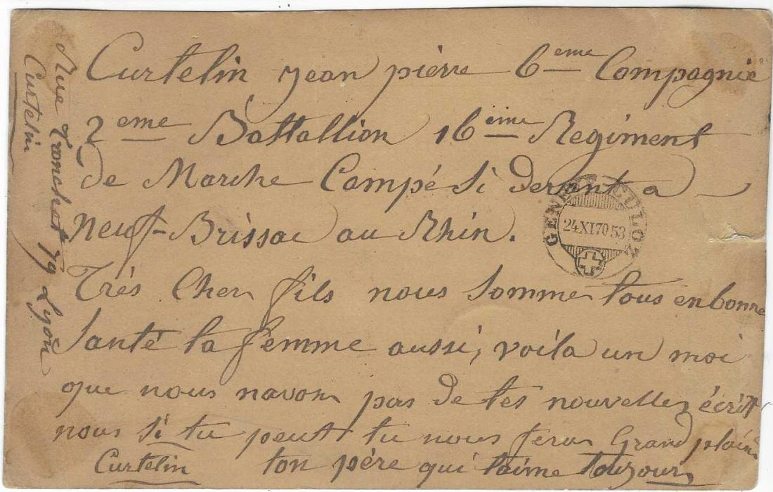 France (Franco-Prussian War) 1870 Red Cross card of Lyon, franked 1863-71 Laureated Napoleon tied by '2145' gros chiffres with Lyon date stamp in association, addressed to the Red Cross at Basle. On reverse Geneve-Culoz tpo cds, as well as message from french prisoner at Neuf-Brissac (Neubreisach, Germany).