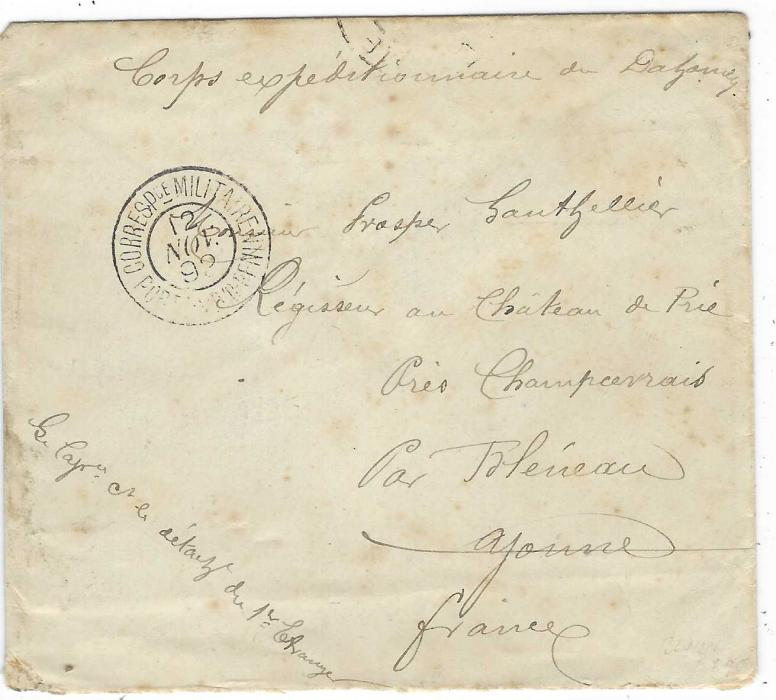 "Dahomey (Benin) 1892 stampless military cover to France endorsed ""Corps expeditionnaire du Dahomey"" and cancelled CORRESPce MILITAIRE PORTO-NOVO BENIN, reverse with maritime Établissements Du Benin Ligne M No.2, Marseille A Lyon Special tpo and some transits and arrival cds; some toning."