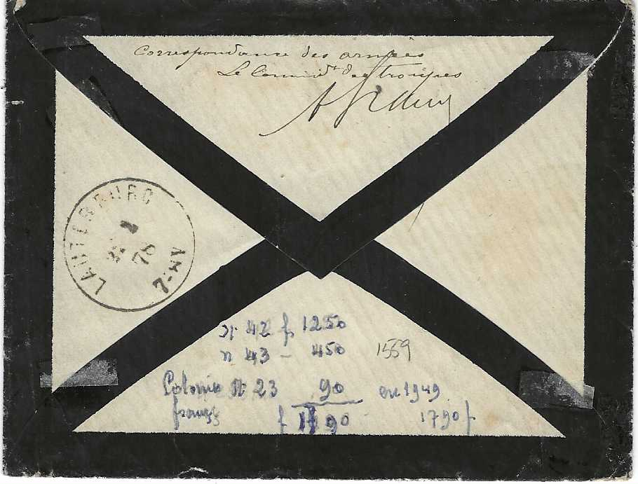 """Senegal 1878 (7 Janv) mourning envelope to Scheibenhardt, Alsace, Germany bearing three-colour franking 1872-73 General Colony 'Ceres' 5c., 10c. and 25c., the latter with small corner fault, otherwise close to large margins, tied by SNG lozenges, St. Louis cds in association, red French maritime cds, endorsed on reverse """"Correspondence des armees"""" and signed. Despite this the cover was prepaid the full 40c. rate as Alsace was now part of Germany and the military rate did not apply. Ex Sacher"""