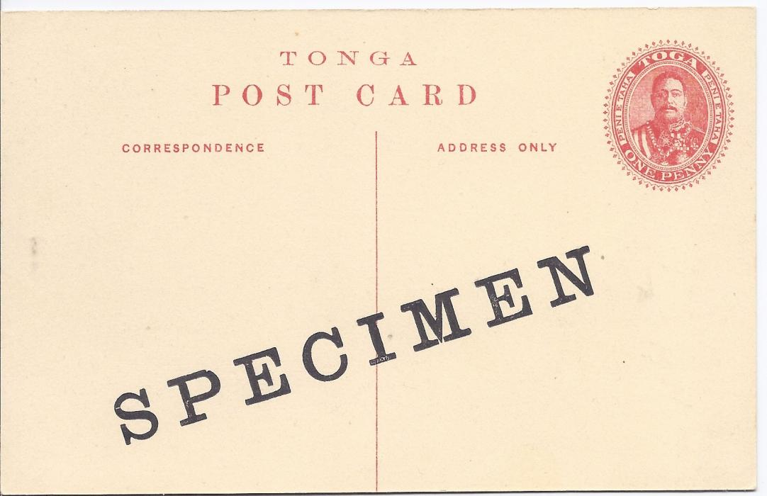 Tonga 1911 1d. picture postal stationery card Palace Haapai with diagonal SPECIMEN overprint; good condition.
