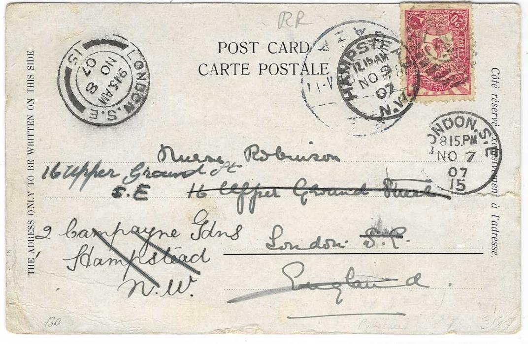 Palestine (Ottoman) 1907 flower postcard to London franked 20pa. tied bilingual Gaza date stamp, redirected twice within London, scarce despatch cancel
