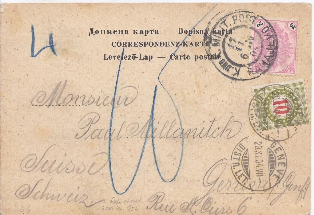 Bosnia Herzegovina 1904 picture postcard (half of double Sarajevo view card) to Geneva franked 20h. pink and black tied Sarajevo cds, underfranked (should have been 25h.) with blue manuscript charges and 10c. Postage Due applied with Geneva cds.