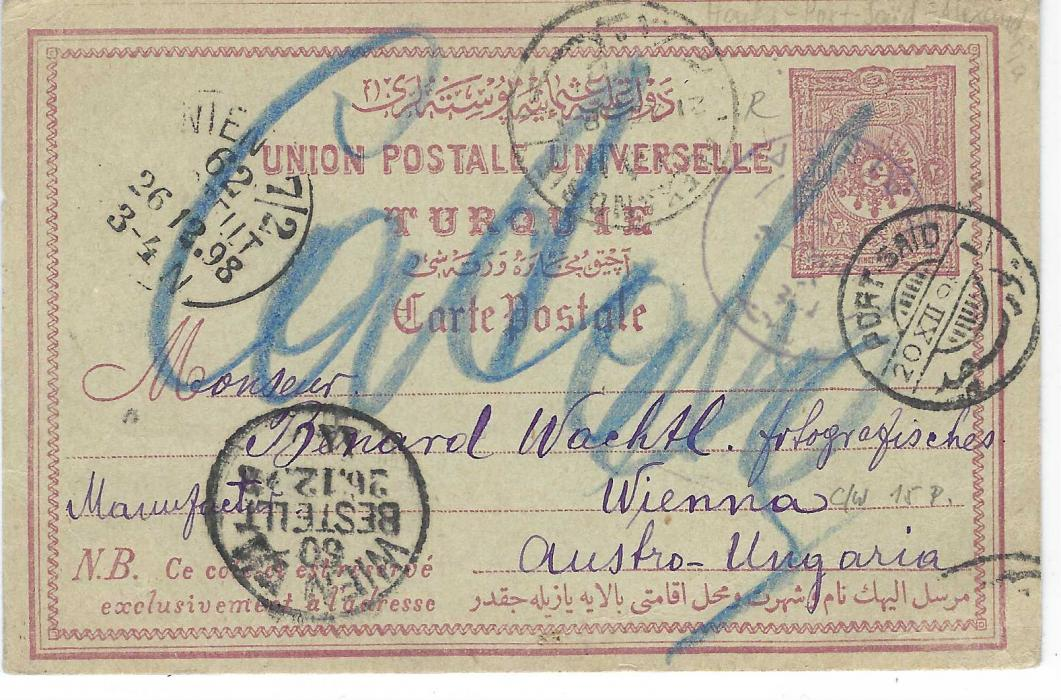 "Palestine (Ottoman) 1898 20pa postal stationery card to Vienna cancelled violet bilingual Haifa cds, Alexandria and Port Said transits, two arrival cancels Wien 7/2 numbers 60 and 62, full message on reverse headed  ""Zihron Jacob"""