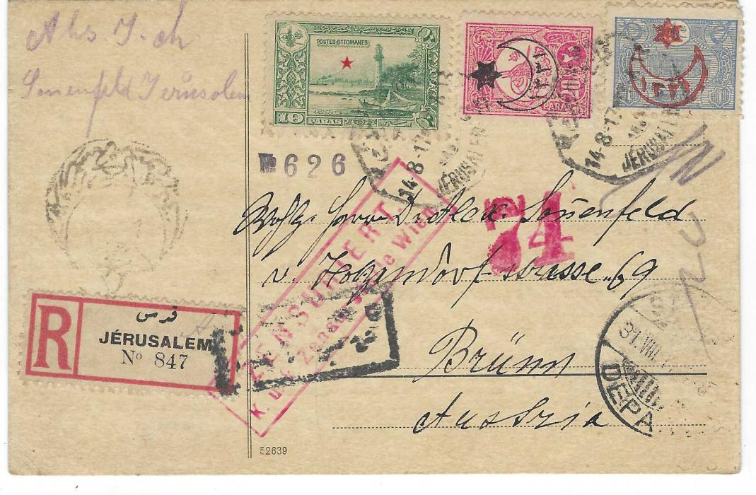Palestine (Ottoman) 1917 (14.8.) registered plain card to Brunn, Austria franked 1914 10pa. with red star overprint and 1915 Provisionals 20pa. and 1pi. tied by bilingual octagonal Jerusalem 2 date stamp, registration label at left tied by framed censor handstamp with another local censor above and at centre red boxed Wien censor; good condition with full message.