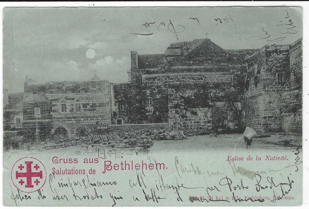 Palestine Ottoman) 1899 picture postcard of Bethlehem to Torino, Italy franked 20pa. tied Jaffa Souk circular arabic cancel, Port Said and Alexandria transits; fine quality.