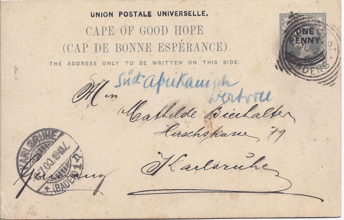 Cape of Good Hope 1900 1d. card with Cape Town views fine used with Kloof St Gardens square circle date stamp and Karlsruhe arrival cds.