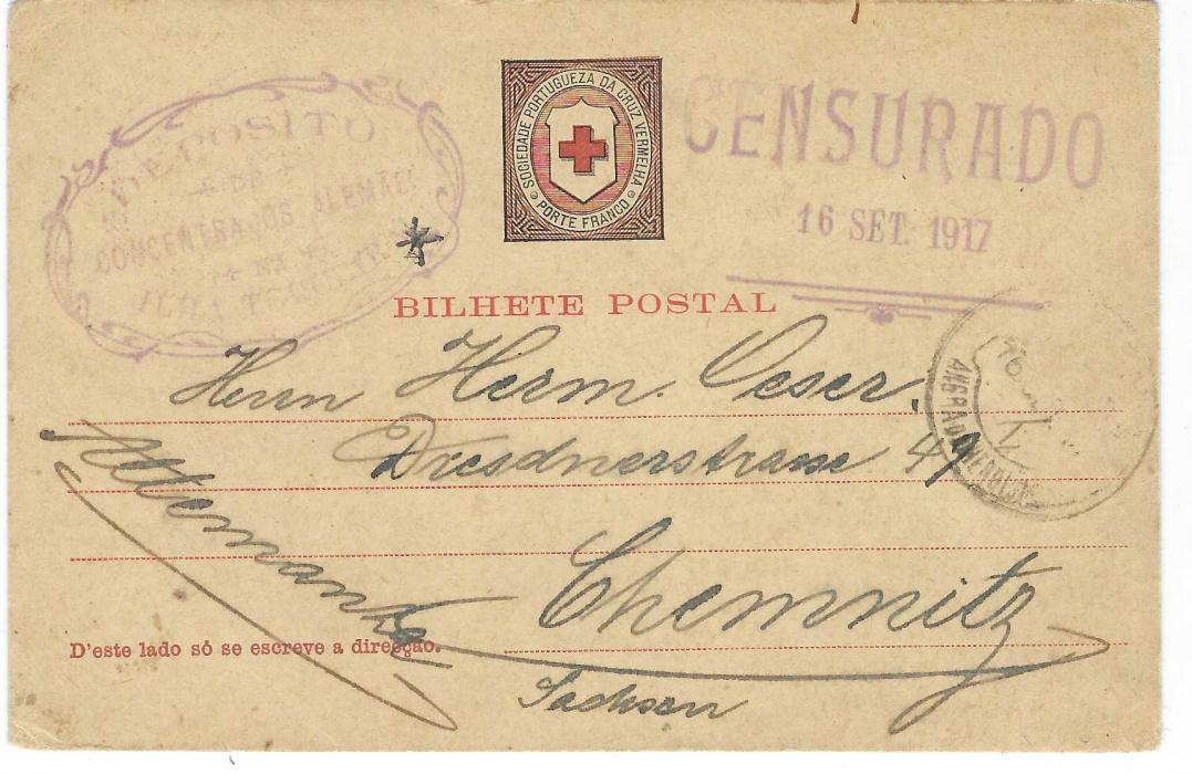 Portugal (Azores) 1917 Red Cross stationery card to Chemnitz bearing ornate oval-framed DEPOSITO/ DE/ CONCENTADOS ALEMAES/ NA/ ILHA TERCEIRA handstamp and two-line CENSURADO/ 16 SET. 1917 in same ink. Good condition with long message.
