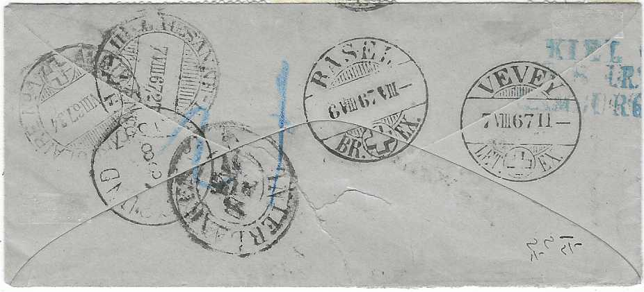 Norway 1867 (2/8) envelope to Vevey, Switzerland, redirected to Interlaken franked 1863-64 2sk., 3sk., 4sk. and a pair of 8sk., an extremely rare 25sk. rate, tied by Christiana cds, reverse with blue Keil/ Hamburg tpo, Basel, Vevey, Ambuant Consulaire and Lausanne transits and arrival cds