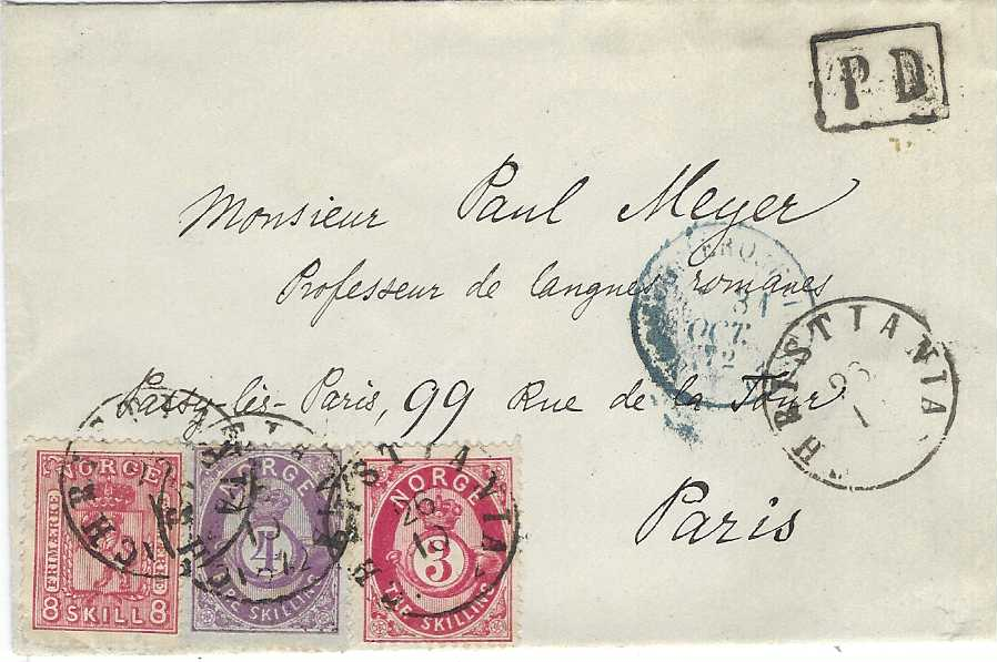 Norway 1872 (25/10) cover to Paris with mixed franking 1867-68 'Lion' 8sk. and 1871 'Posthorn' 3sk and 4sk. tied Christiania cds, black framed 'P D' ,smudged blue French entry cds and on reverse arrival cds.