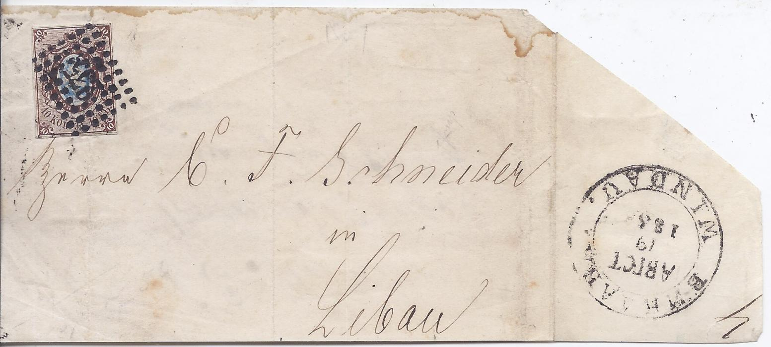 Latvia 1850s large part outer letter sheet to Libau franked Russia 10kop. with close margins tied 235 dotted lozenge, sideflap with bilingual Windau despatch cds. Fine early example of first stamp of Russia used in Latvia.