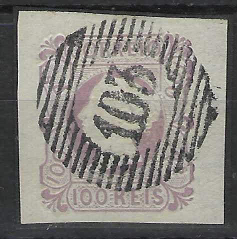 Portugal 1853 Queen Maria II 100r. pale lilac with four good to large margins very fresh used with complete '103' numeral cancel. A fine example.