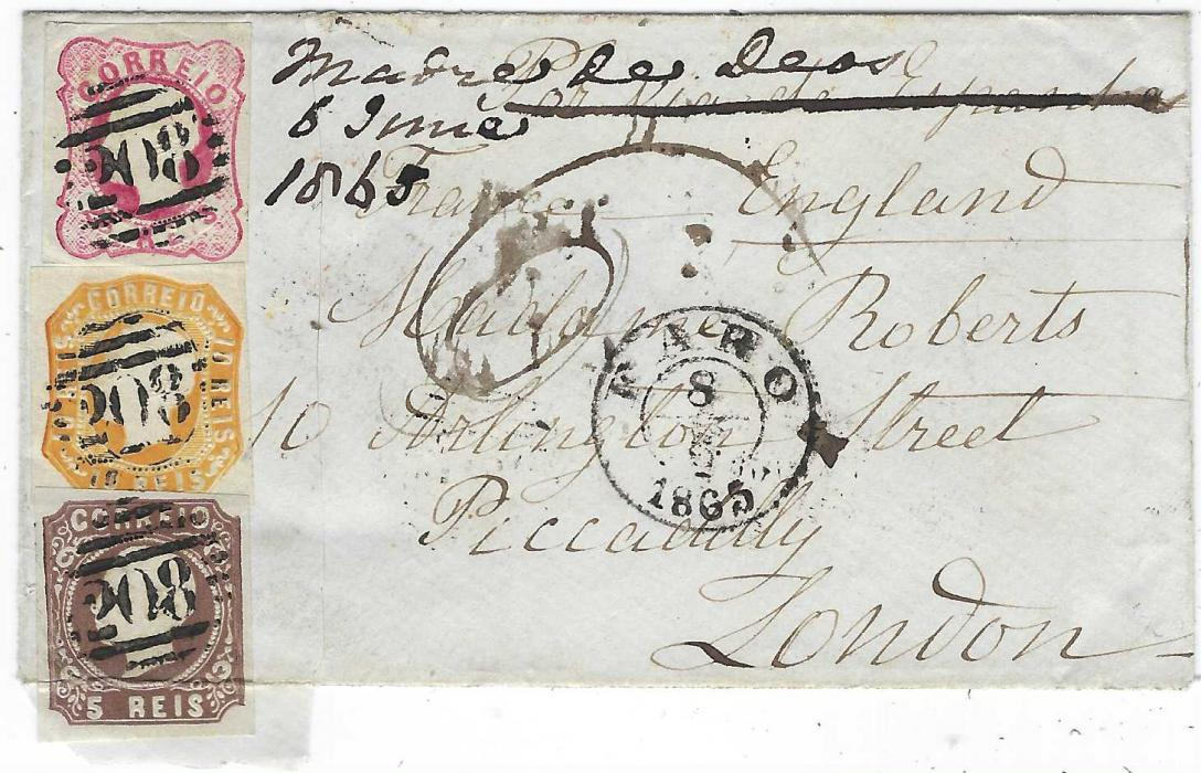Portugal 1865 cover to London franked 1862-64 King Luis 5r., 10r. and 25r. tied '208' numeral obliterator with Faro cds in association, reverse with Lisboa transit, red segmented handstamp and arrival cds; stamps with four good to large margins, the 5r. folded over onto reverse, very attractive three colour franking.