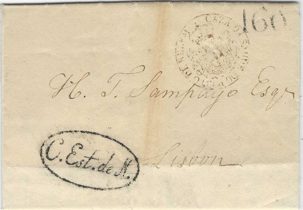 "Portugal (Disinfected Mail) 1818 entire from New York to Lisbon carried by the schooner ""Elizabeth"", landed at the port of Belem and bearing disinfection handstamp Caza Da Saude Do Porto De Belem, also with oval-framed 'C.Est.de.N' (Carta Estrangeira de navio) handstamp applied at Lisbon to mail arriving by foreign ships, rated '160' reis; a slight stain on front."