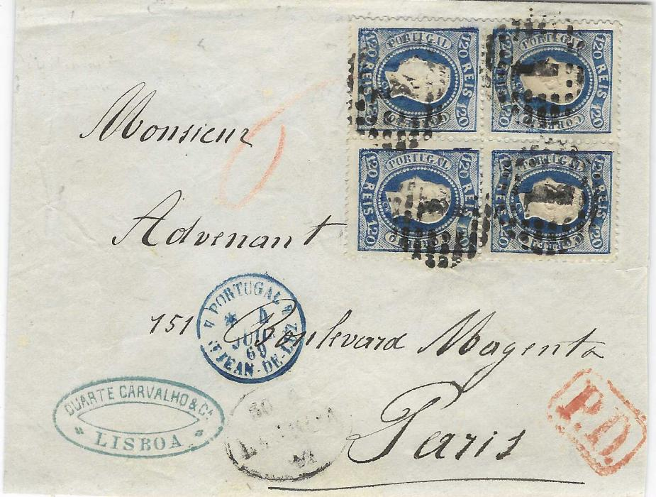 Portugal 1869 envelope to Paris franked 1867 'Curved Label' perforated 120r. blue cancelled by '1' numeral cancel with oval Lisboa date stamp in association, red framed P.D. and blue French entry cds, without backstamps. Envelope slightly reduced  at right with some faults on reverse not detracting from a fine high value franking with a rare block of four. Miranda Da Mota Certificate.
