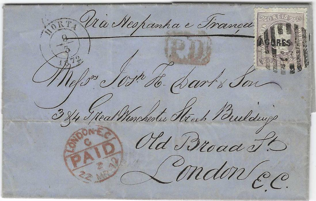 Portugal (Azores) 1872 (9/3) entire to London endorsed to travel via Spain and France bearing single franking 1868-70 curved label, perforated 240r. tied '43' numeral within bars, Horta cds in association, red framed P.D. and London PAID arrival, Lisboa transit backstamp. A fine double weight cover.