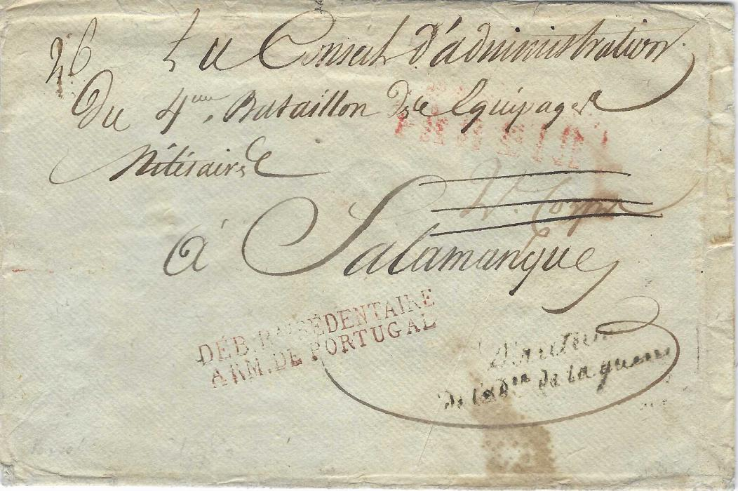 "Portugal (Napoleonic War) 1811 envelope to French Military Administration at Salamanca, bearing two-line italic handstamp ""Directeur ... de la guerre"", reddish brown two-line DEB. Bau BEDENTAIRE/ ARM. DE PORTUGAL, reverse with two-line No.2 DEB./ARM. DE PORTUGAL. A fine and rare double Deborsement cover."