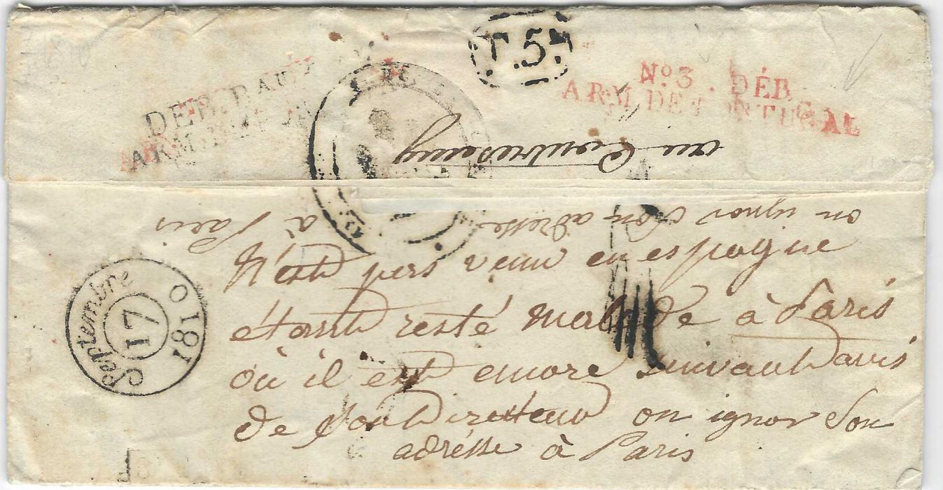 Portugal (Napoleonic Mail) 1810 entire to Paris with black two-line unclear Directeur ... de la guerre, fine 'No.3 DEB/ ARM DE PORTUGAL', this handstamp repeated on reverse together  with black 'DEB. Bau .../ ARM. DE PORTUGAL', a fine and rare cover