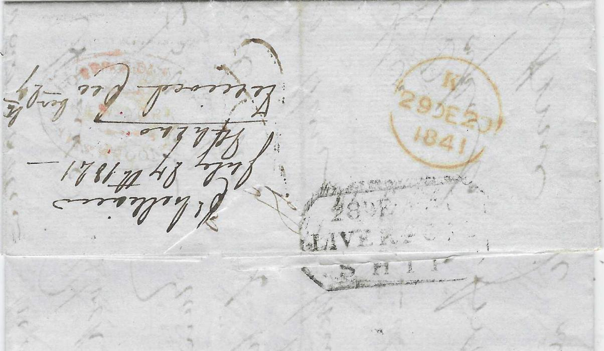 "Macau 1841 (27 July) entire to London, endorsed ""Via New York"" with manuscript ""8"" at centre, reverse with octagonal framed LIVERPOOL SHIP and red arrival cds of 29 DE, also on reverse a faint red oval Forwarding Agents cachet; light vertical filing crease."