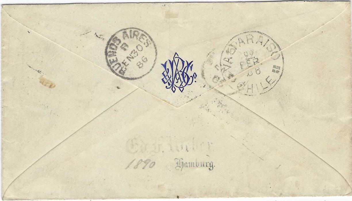 Cape Verde Islands :  1886 (12 June) stampless cover to Valparaiso, Chile bearing oval-framed Correio De St. Vincente CABO VERDE date stamp, 'T'  in circular handstamp and also bearing arrival charge handstamp VALPARAISO MULTADA 20c, reverse with Buenos Aires transit and arrival cds. A rare and extremely fine cover.